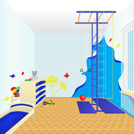 childrens room with furniture, sports complex and of toys Vector