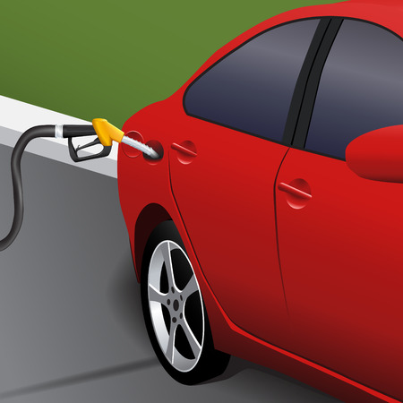 refueling: vehicle refueling station at the background of the road