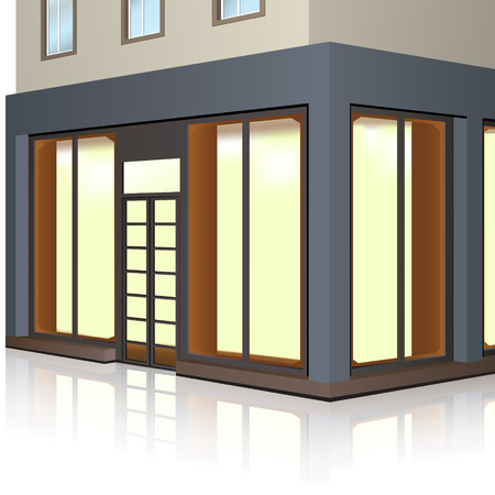 store building with storefronts and entrance with reflection on white background