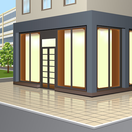 building with storefronts and entrance with reflection on the street background