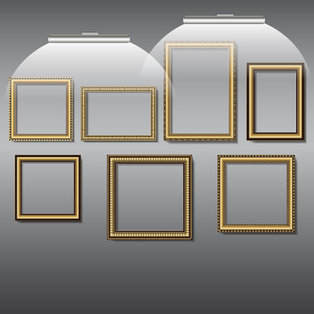 golden color: frames for photos and pictures of golden color on the wall with lamps Illustration