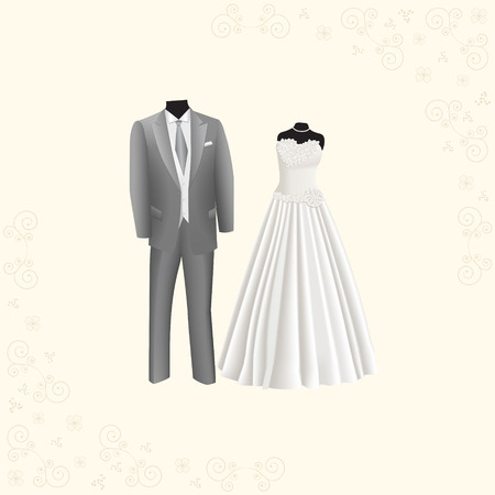 gray suit: wedding dress and gray mens suit on a beige background