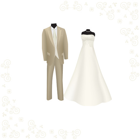wedding reception decoration: wedding dress and brown mens suit on a white background