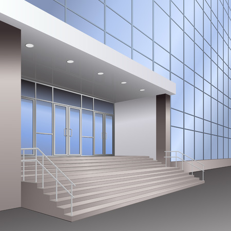entrance to the building with stairs, lights and reflection