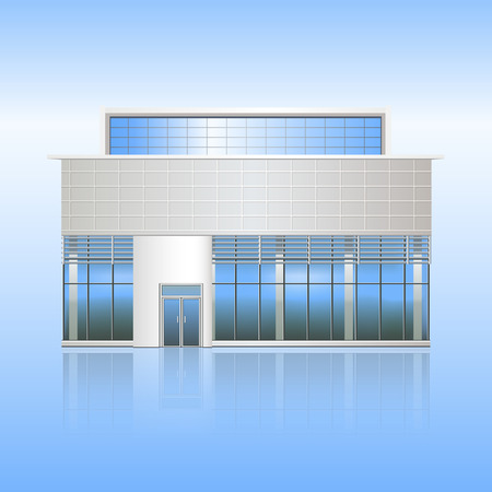 office building and the entrance with reflection on a blue background Illustration