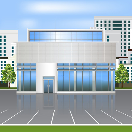 building business: office building with reflection and parking on the street background