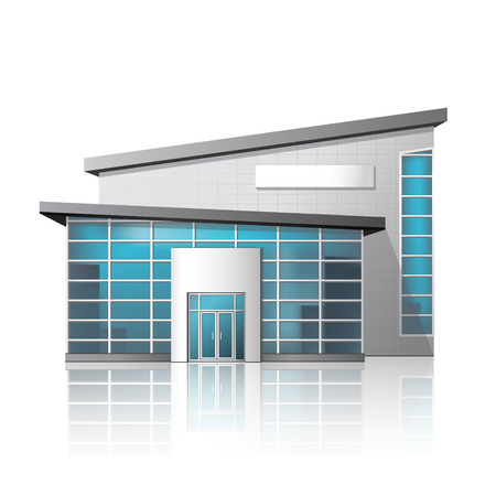 building industry: office building and the entrance with reflection on a white background Illustration