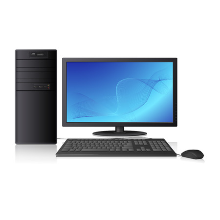 computer with abstracts pattern on the screen and reflection on white background Vector