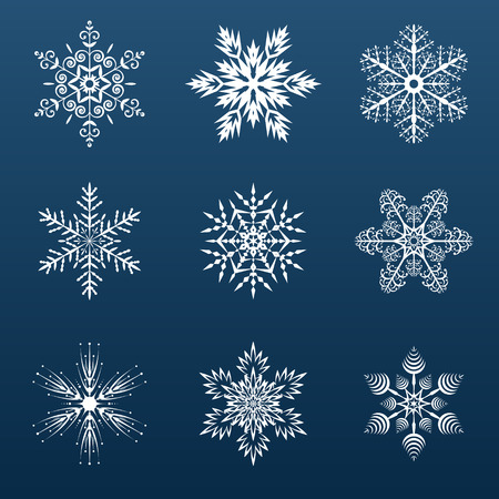 set of white snowflakes for decoration on a blue background Vector