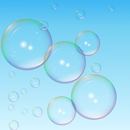 青い背景のハイライトと大小のカラフルな泡