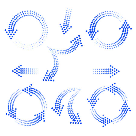 set of blue arrows from circles on a white background Vectores