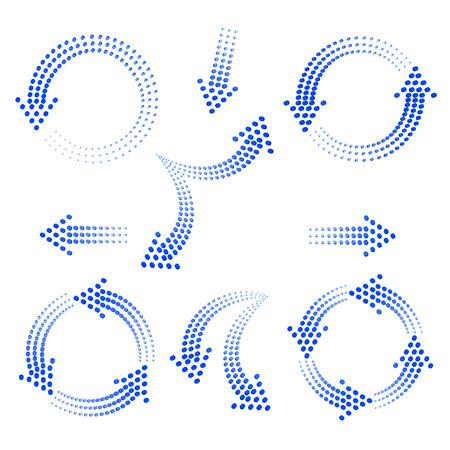 Conjunto de flechas azules de círculos sobre un fondo blanco