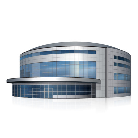 建物、白い背景に反射と陸上競技場
