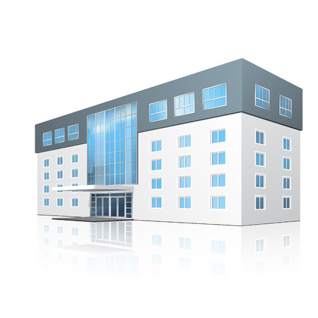 school building with reflection and input on a white background