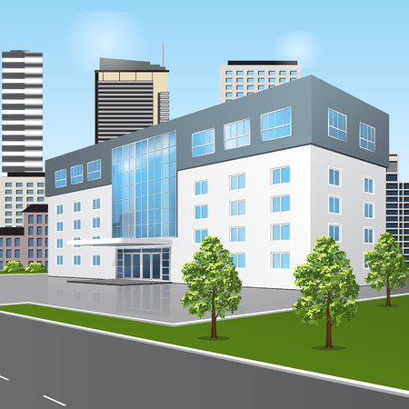 public hospital: school building with reflection and input on a background of the street Illustration