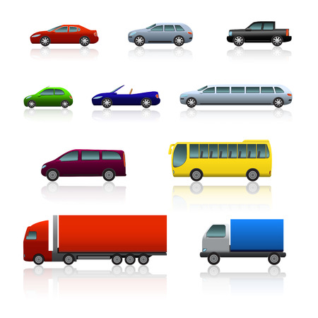 set of different cars with reflection on white background Illustration
