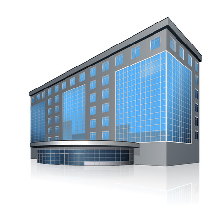office building and the entrance with reflection on a white background Ilustração