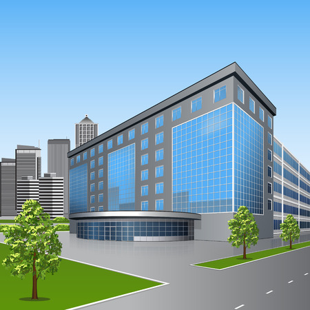 office building with trees and reflection on a background of street