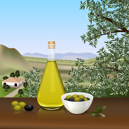 olive farm: bottle of olive oil on the table on the background of the farm Illustration