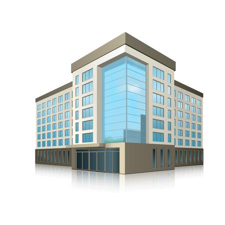 gebäude: Bürogebäude mit Eingang und Reflexion auf weißem Hintergrund
