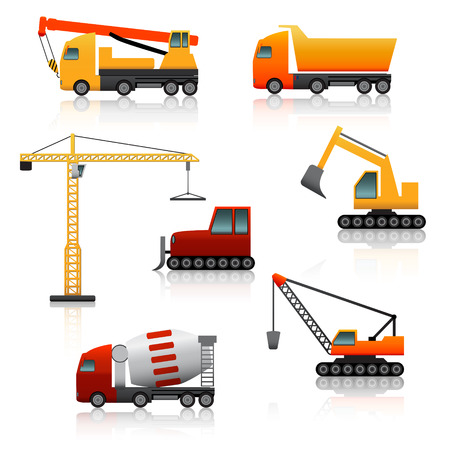 road scraper: icon construction equipment   crane, scoop, mixer with reflection on a white background