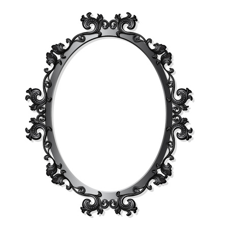 round carved frame for picture or photo with shadow on white background