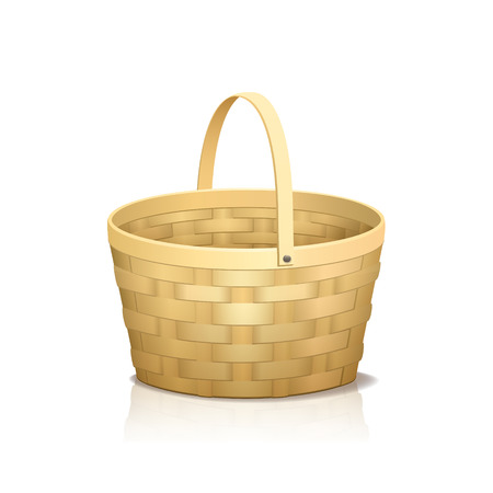 bast basket: straw basket with a handle and reflection on white background Illustration