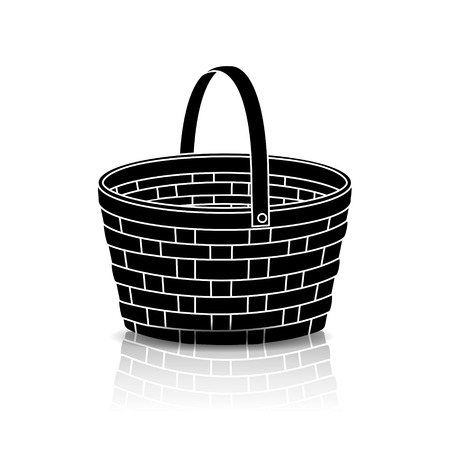 bast basket: silhouette straw basket with a handle and reflection on white background