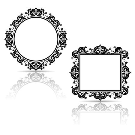 silhouet gesneden frame voor beeld of foto met schaduw op witte achtergrond