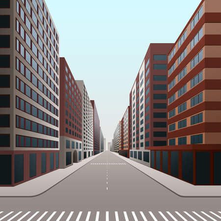 megapolis: street of the city with office buildings in perspective