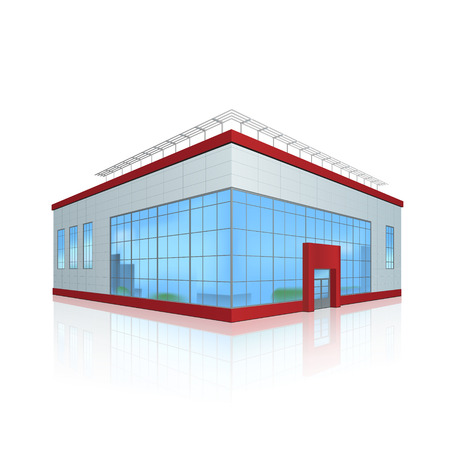 kantoorgebouw en de entree met een reflectie op een witte achtergrond Stock Illustratie