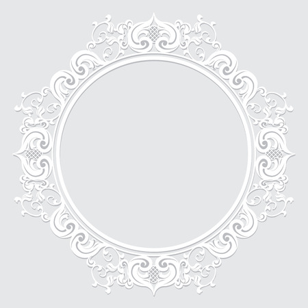 carved vintage frame made of paper for picture or photo with shadow on white background Ilustração