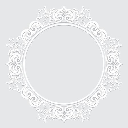gesneden vintage frame gemaakt van papier voor afbeelding of foto met schaduw op witte achtergrond Stock Illustratie