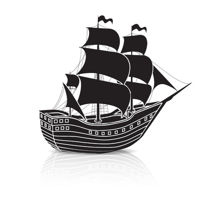 vintage sailing ship at sea on a white background