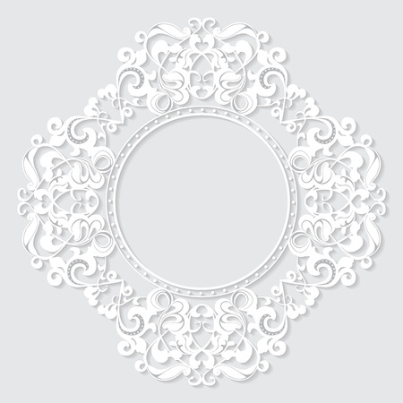 carved vintage frame made of paper for picture or photo with shadow on white background 向量圖像