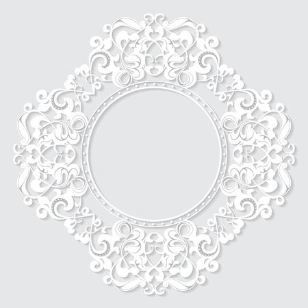 Vintage frame sculpté en papier pour l'image ou la photo avec l'ombre sur fond blanc Banque d'images - 36656990