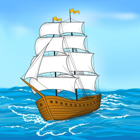 ビンテージ帆船で海と空の色  イラスト・ベクター素材