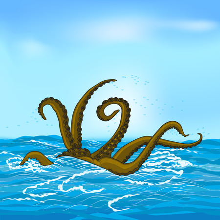 mythological kraken tentacles with the sea and sky