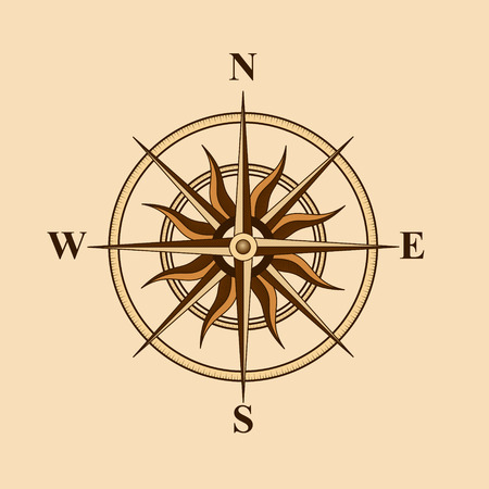 old compass for design card on a yellow background