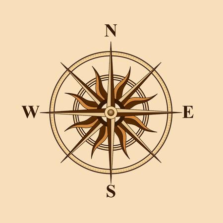 oude kompas voor ontwerp kaart op een gele achtergrond