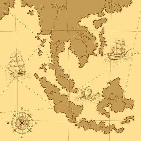vecchia mappa con una bussola e le navi in ??giallo Vettoriali