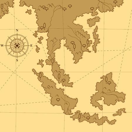 vecchia mappa con una bussola e alberi nei toni del giallo