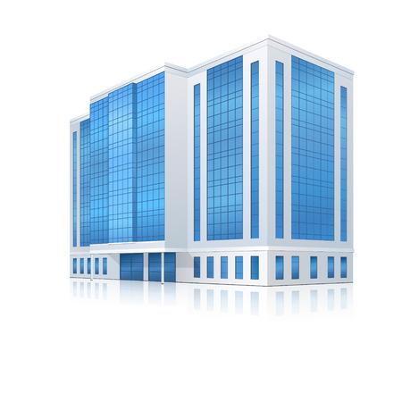 kantoorgebouw met ingang en reflectie op witte achtergrond
