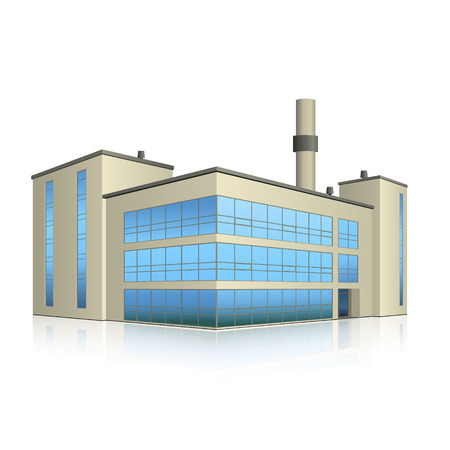 factory building with offices, production facilities and reflection