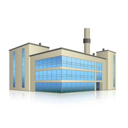 fabriek gebouw met kantoren, productie-installaties en reflectie