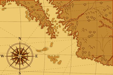 vecchia mappa con una bussola e alberi nei toni del giallo Vettoriali