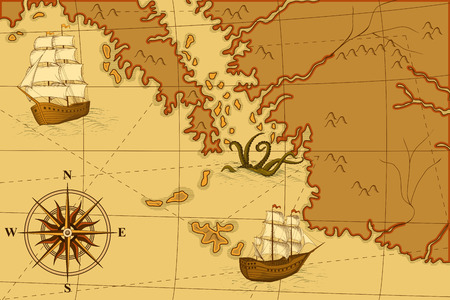 old map with a compass and ships in yellow