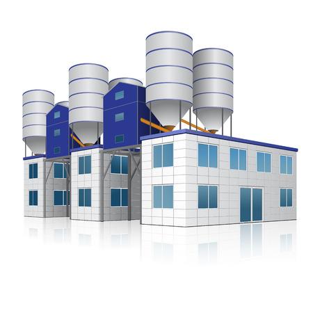 fabrieksgebouw voor de productie van beton met reflectie op witte achtergrond