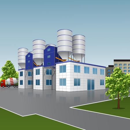 fabrieksgebouw voor de productie van beton met een reflectie op de achtergrond van de straat