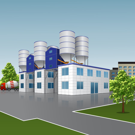 factory building for the production of concrete with a reflection on the background of the street Illustration